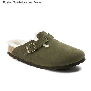Birkenstock Boston Shearling Suede Clogs Slippers